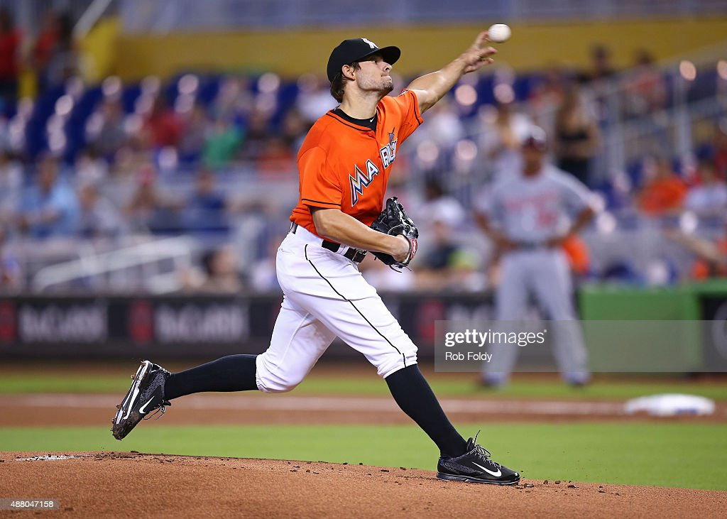 Brad Hand of the Miami Marlins pitches during the first inning of the game against the Washington Nationals at Marlins Park on September 13 2015 in...
