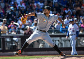 Brad Hand of the Miami Marlins pitches during the game against the New York Mets at Citi Field on Sunday April 19 2015 in the Queens borough of New...