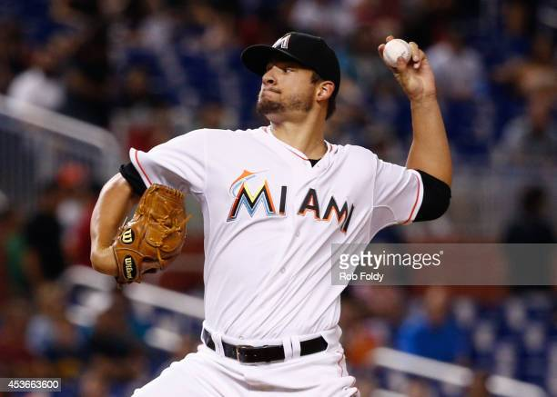 Brad Hand of the Miami Marlins pitches during the second inning of the game against the Arizona Diamondbacks at Marlins Park on August 15 2014 in...