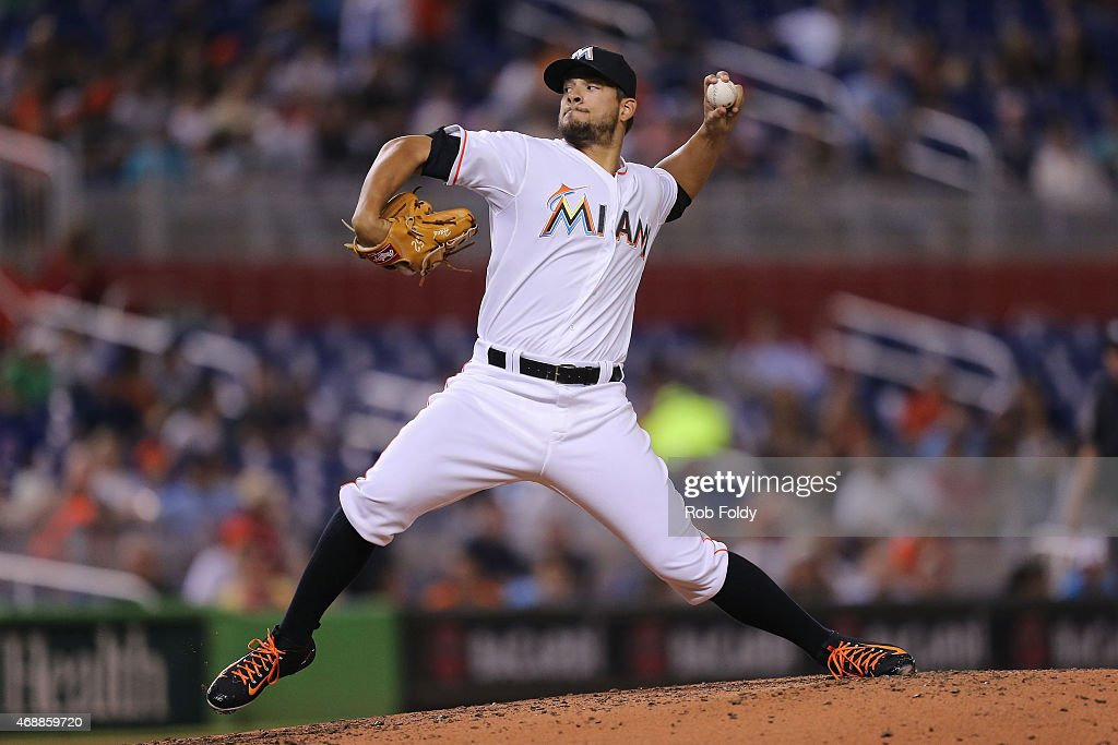 Brad Hand of the Miami Marlins pitches during the second inning of the game against the Atlanta Braves at Marlins Park on April 7 2015 in Miami...