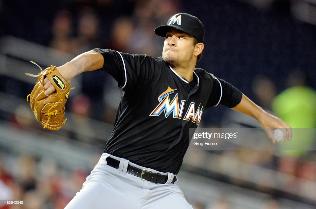 Brad Hand of the Miami Marlins pitches in the second inning against the Washington Nationals at Nationals Park on April 9 2014 in Washington DC