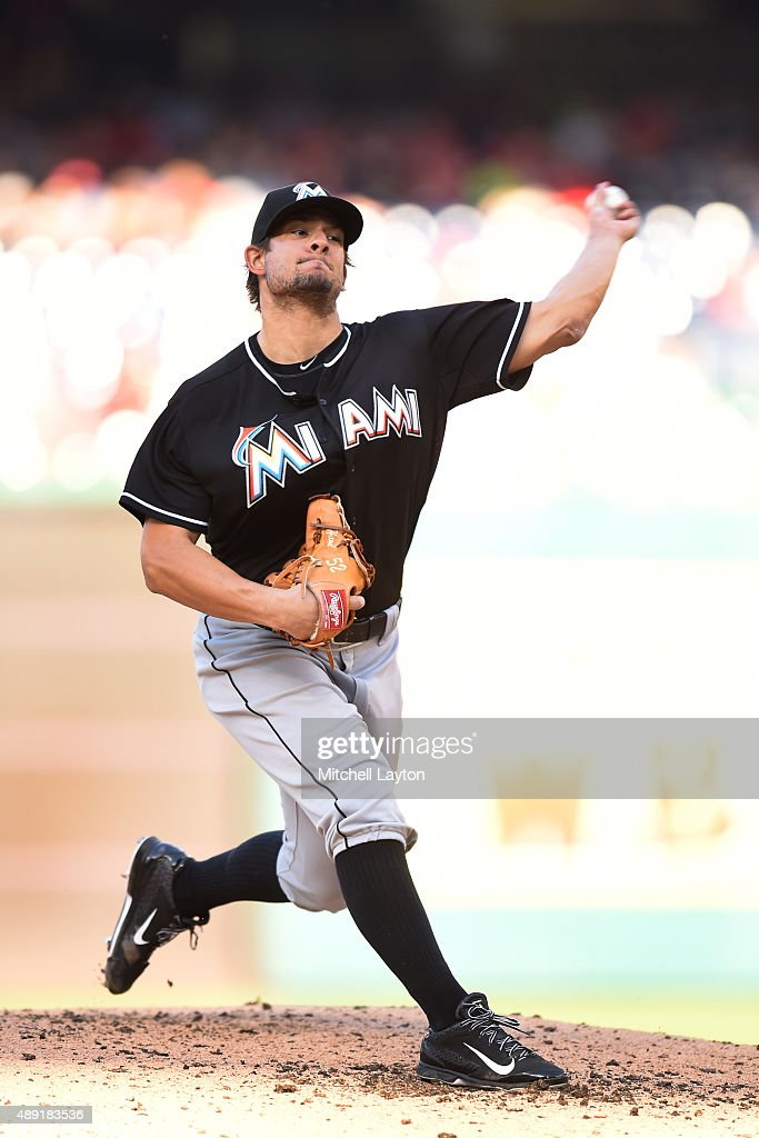 Brad Hand of the Miami Marlins pitches in third inning during a baseball game against the Washington Nationals at Nationals Park on September 19 2015...