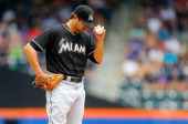 Brad Hand of the Miami Marlins stands on the mound during the first inning against the New York Mets at Citi Field on July 13 2014 in the Flushing...