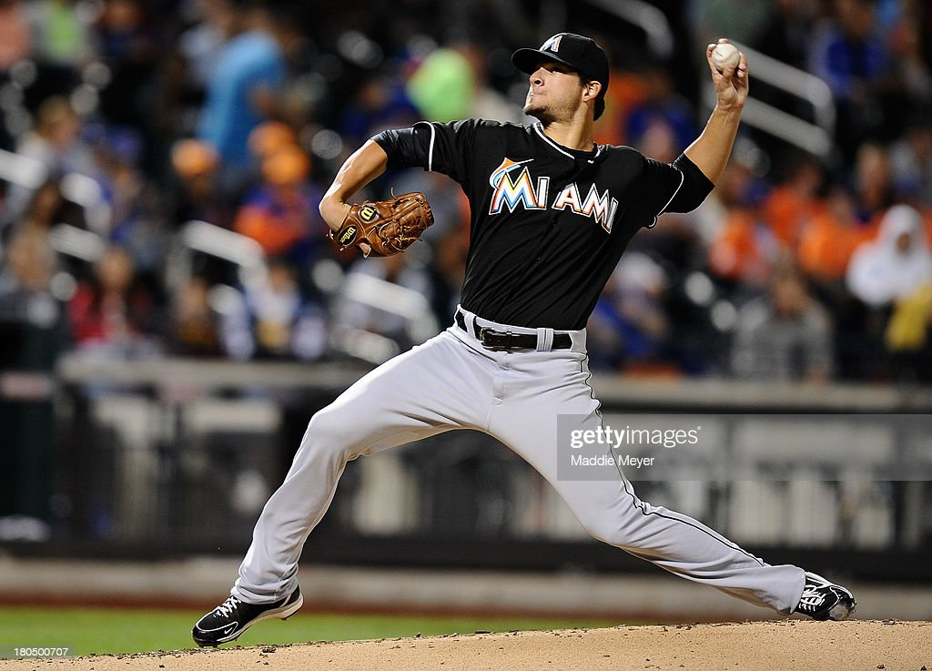 Brad Hand of the Miami Marlins throws a pitch against the New York Mets at Citi Field on September 13 2013 in New York City