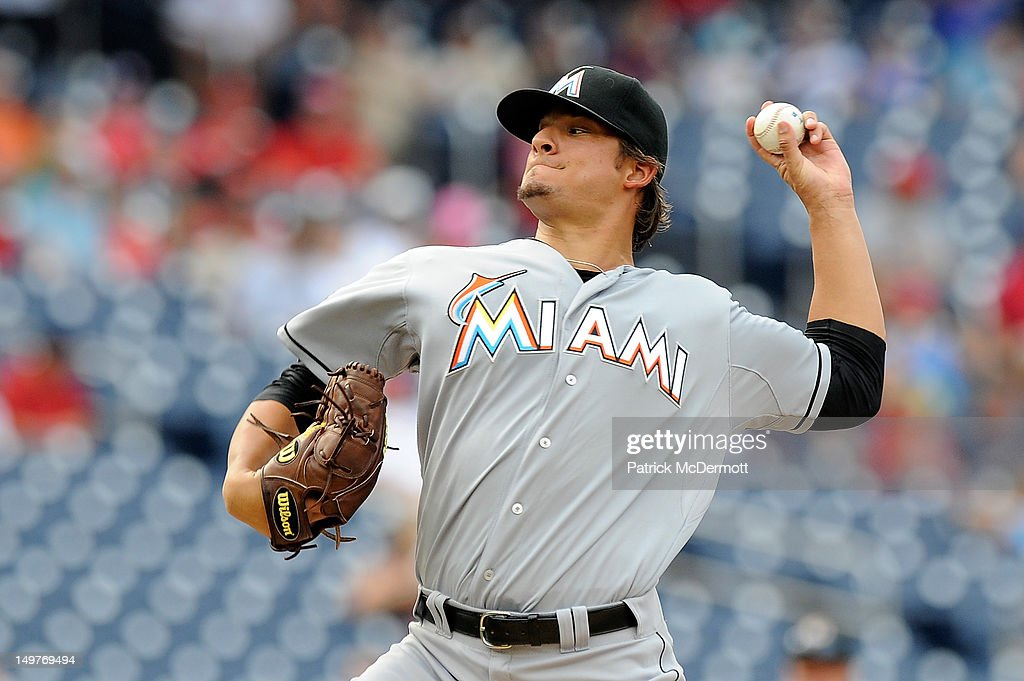 <a gi-track='captionPersonalityLinkClicked' href=/galleries/search?phrase=Brad+Hand&family=editorial&specificpeople=7551554 ng-click='$event.stopPropagation()'>Brad Hand</a> #52 of the Miami Marlins throws a pitch against the Washington Nationals at Nationals Park on August 3, 2012 in Washington, DC.