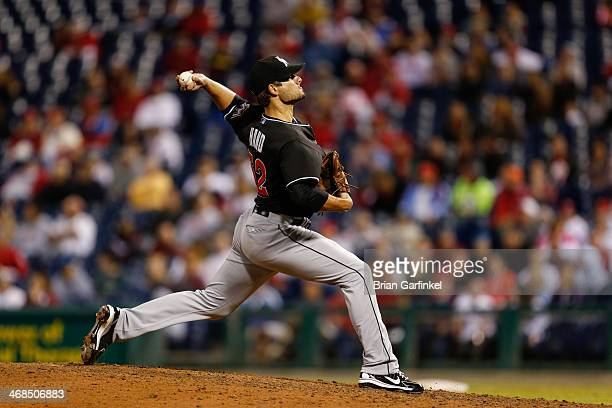 Brad Hand of the Miami Marlins throws a pitch during the game against the Philadelphia Phillies at Citizens Bank Park on September 18 2013 in...