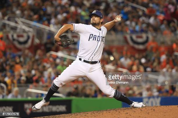 Brad Hand of the San Diego Padres and the National League delivers the pitch during the 88th MLB AllStar Game at Marlins Park on July 11 2017 in...