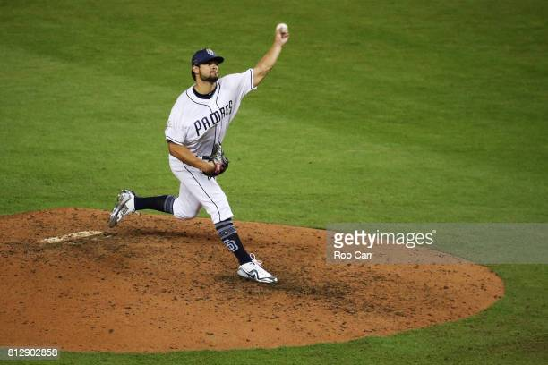 Brad Hand of the San Diego Padres and the National League throws a pitch in the sixth inning during the 88th MLB AllStar Game at Marlins Park on July...