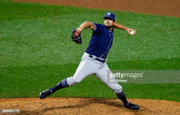 Brad Hand of the San Diego Padres in action against the New York Mets at Citi Field on May 25 2017 in the Flushing neighborhood of the Queens borough...