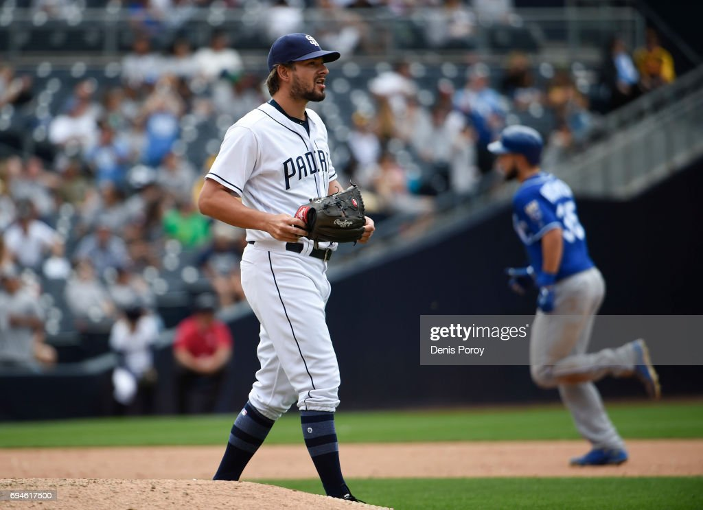 Brad Hand #52 of the San Diego Padres looks to the outfield after giving up a home run to Eric Hosmer #35 of the Kansas City Royals during the eighth inning of a baseball game at PETCO Park on June 10, 2017 in San Diego, California.