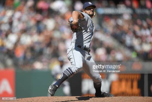 Brad Hand of the San Diego Padres pitches against the San Francisco Giants in the bottom of the ninth inning at ATT Park on July 23 2017 in San...