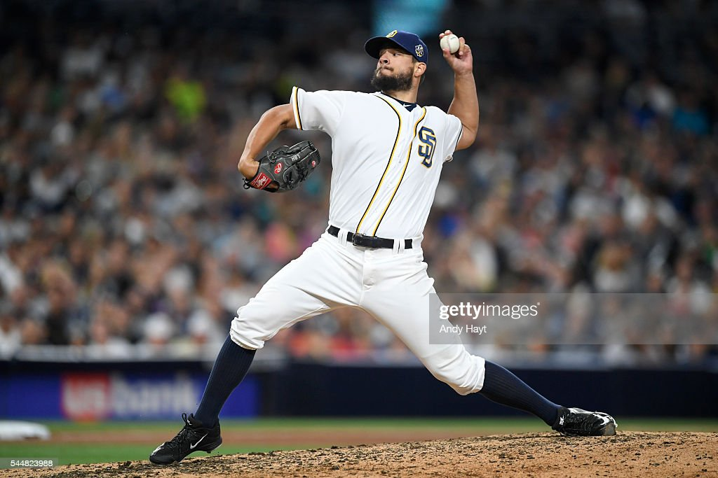 Brad Hand of the San Diego Padres pitches during a baseball game against the New York Yankees at PETCO Park on July 2 2016 in San Diego California