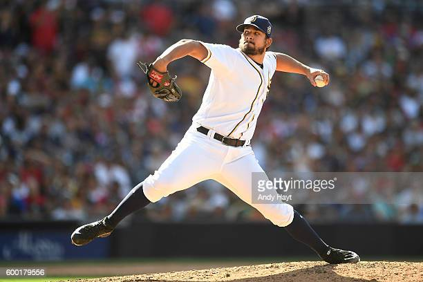 Brad Hand of the San Diego Padres pitches during the game against the Boston Red Sox at PETCO Park on September 5 2016 in San Diego California