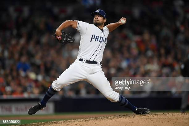 Brad Hand of the San Diego Padres pitches during the game against the San Francisco Giants at Petco Park on April 8 2017 in San Diego California