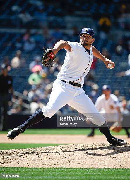 Brad Hand of the San Diego Padres pitches during the ninth inning of a baseball game against the Colorado Rockies at PETCO Park on May 4 2016 in San...