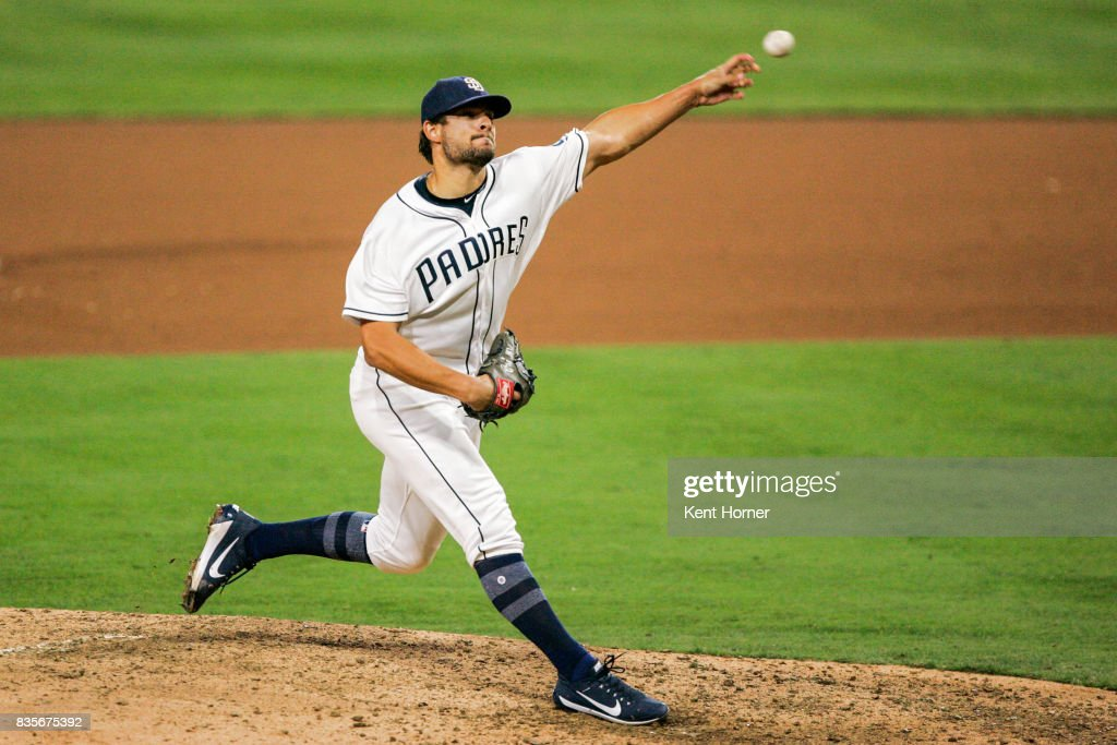 Brad Hand #52 of the San Diego Padres throws the ball during the 9th inning against the Washington Nationals at PETCO Park on August 19, 2017 in San Diego, California.