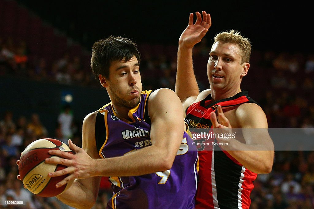 Brad Hill of the Kings passes during the round three NBL match between the Sydney Kings and the Perth Wildcats at Sydney Entertainment Centre in October 27, 2013 in Sydney, Australia.