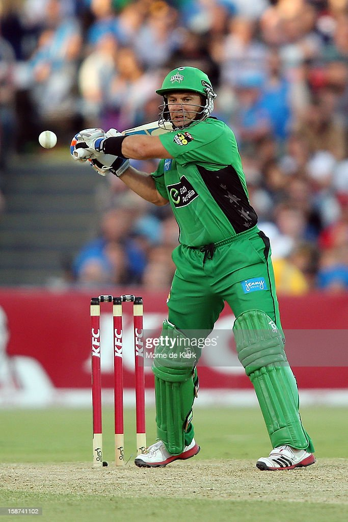 <a gi-track='captionPersonalityLinkClicked' href=/galleries/search?phrase=Brad+Hodge&family=editorial&specificpeople=206845 ng-click='$event.stopPropagation()'>Brad Hodge</a> of the Stars bats during the Big Bash League match between the Adelaide Strikers and the Melbourne Stars at Adelaide Oval on December 27, 2012 in Adelaide, Australia.