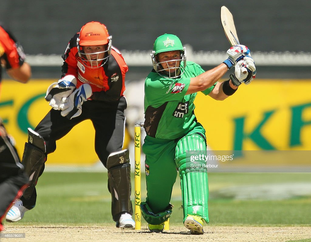 <a gi-track='captionPersonalityLinkClicked' href=/galleries/search?phrase=Brad+Hodge&family=editorial&specificpeople=206845 ng-click='$event.stopPropagation()'>Brad Hodge</a> of the Stars bats during the Big Bash League match between the Melbourne Stars and the Perth Scorchers at Melbourne Cricket Ground on January 27, 2014 in Melbourne, Australia.