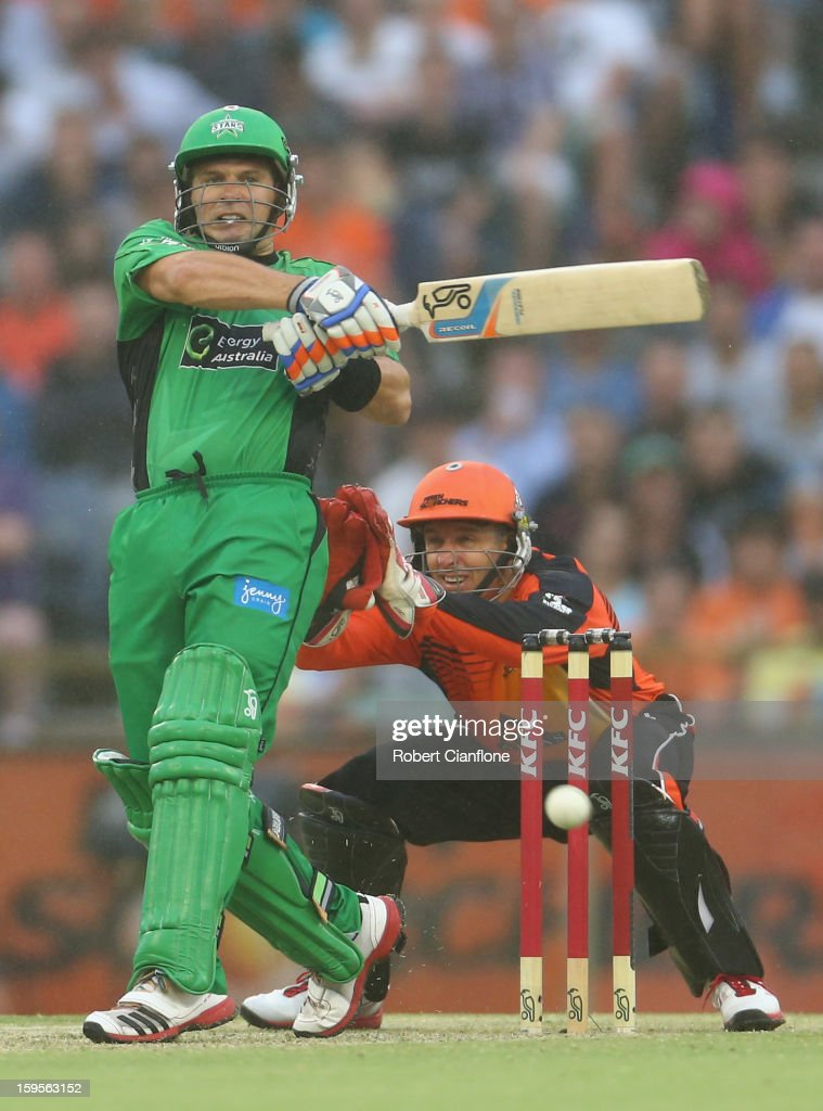 <a gi-track='captionPersonalityLinkClicked' href=/galleries/search?phrase=Brad+Hodge&family=editorial&specificpeople=206845 ng-click='$event.stopPropagation()'>Brad Hodge</a> of the Stars bats during the Big Bash League semi-final match between the Perth Scorchers and the Melbourne Stars at the WACA on January 16, 2013 in Perth, Australia.