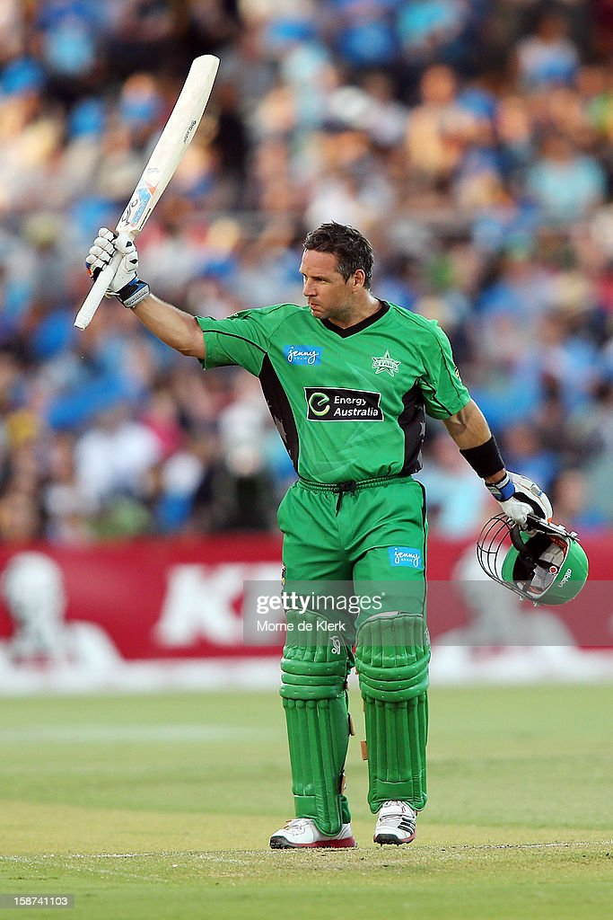 <a gi-track='captionPersonalityLinkClicked' href=/galleries/search?phrase=Brad+Hodge&family=editorial&specificpeople=206845 ng-click='$event.stopPropagation()'>Brad Hodge</a> of the Stars celebrates after getting 50 runs during the Big Bash League match between the Adelaide Strikers and the Melbourne Stars at Adelaide Oval on December 27, 2012 in Adelaide, Australia.