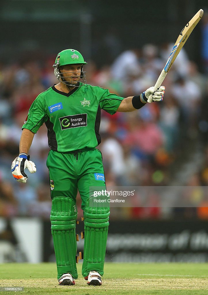 <a gi-track='captionPersonalityLinkClicked' href=/galleries/search?phrase=Brad+Hodge&family=editorial&specificpeople=206845 ng-click='$event.stopPropagation()'>Brad Hodge</a> of the Stars celebrates after scoring his half century during the Big Bash League semi-final match between the Perth Scorchers and the Melbourne Stars at the WACA on January 16, 2013 in Perth, Australia.