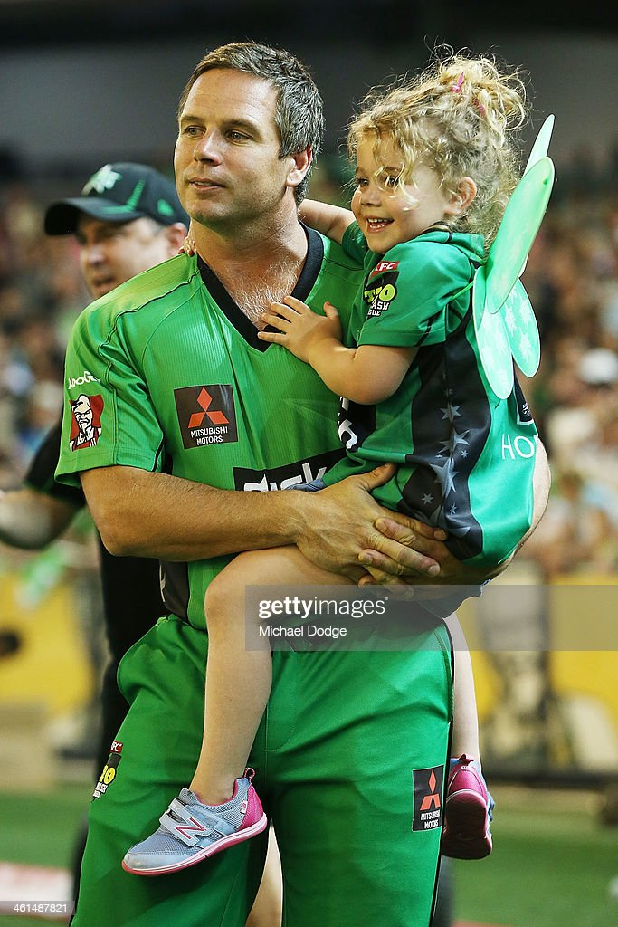 <a gi-track='captionPersonalityLinkClicked' href=/galleries/search?phrase=Brad+Hodge&family=editorial&specificpeople=206845 ng-click='$event.stopPropagation()'>Brad Hodge</a> of the Stars celebrates the win with daughter Sophie Hodge during the Big Bash League match between the Melbourne Stars and the Adelaide Strikers at the Melbourne Cricket Ground on January 9, 2014 in Melbourne, Australia.
