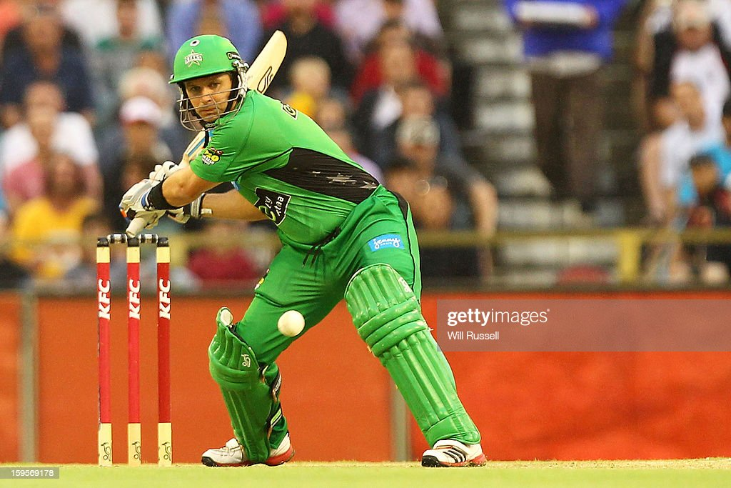 Brad Hodge of the Stars hits the ball during the Big Bash League semi-final match between the Perth Scorchers and the Melbourne Stars at the WACA on January 16, 2013 in Perth, Australia.