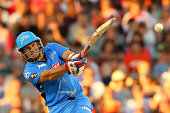 Brad Hodge of the Strikers bats during the Big Bash League match between the Perth Scorchers and Adelaide Strikers at WACA on December 22 2014 in...