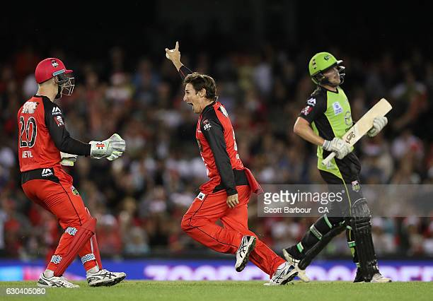 Brad Hogg of the Renegades celebrates after dismissing Ryan Gibson of the Thunder during the Big Bash League match between the Melbourne Renegades...