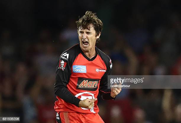 Brad Hogg of the Renegades celebrates after taking a wicket during the Big Bash League match between the Melbourne Renegades and the Hobart...