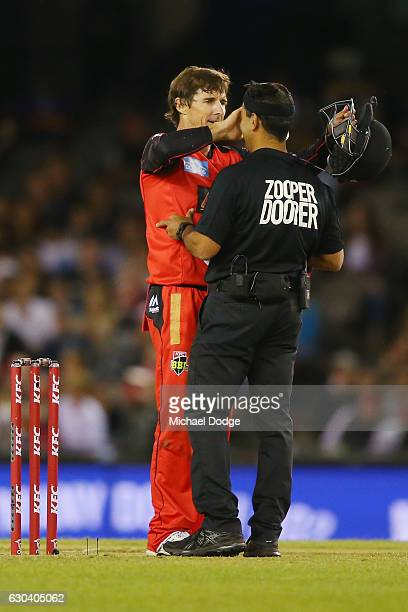Brad Hogg of the Renegades checks the umpires eyes after appealing unsuccessfully for an LBW during the Big Bash League match between the Melbourne...