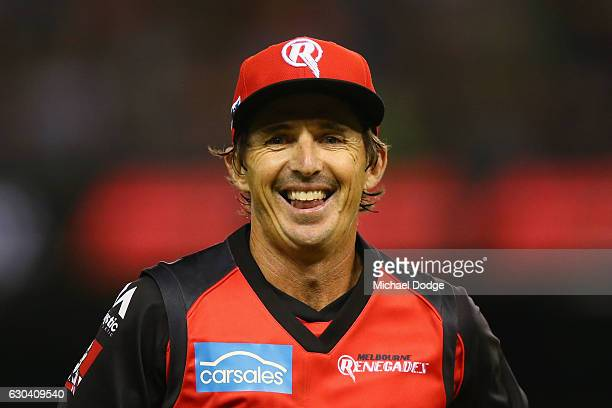 Brad Hogg of the Renegades smiles to the crowd after taking a wicket during the Big Bash League match between the Melbourne Renegades and Sydney...