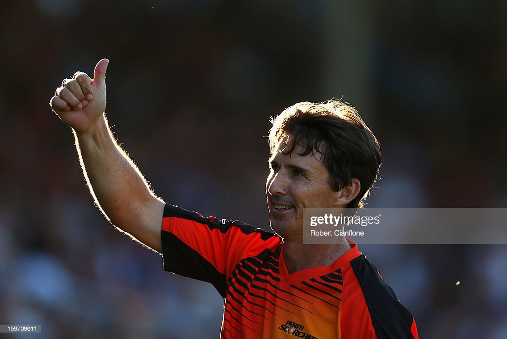 Brad Hogg of the Scorchers acknowledges the crowd during the Big Bash League final match between the Perth Scorchers and the Brisbane Heat at the WACA on January 19, 2013 in Perth, Australia.