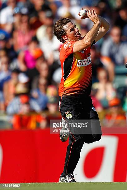 Brad Hogg of the Scorchers bowls during the Big Bash League match between the Perth Scorchers and the Brisbane Heat at WACA on January 8 2015 in...