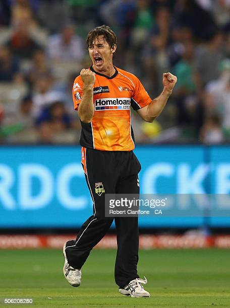 Brad Hogg of the Scorchers celebrates after taking the wicket of Marcus Stoinis of the Stars during the Big Bash League Semi Final match between the...