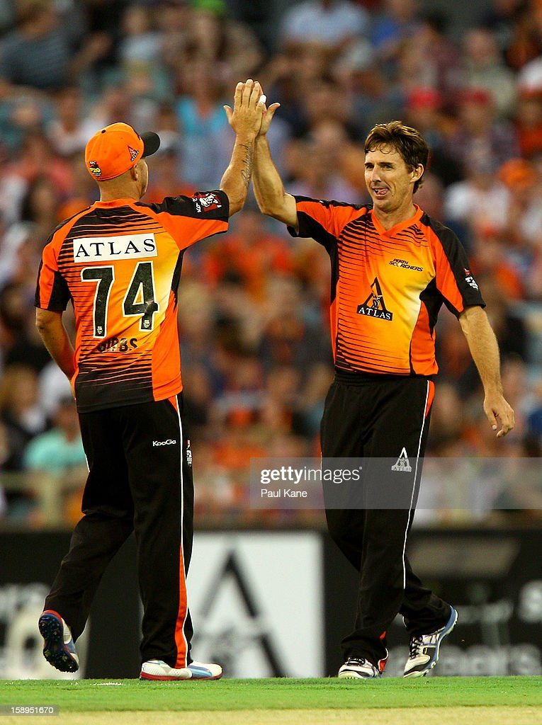 <a gi-track='captionPersonalityLinkClicked' href=/galleries/search?phrase=Brad+Hogg&family=editorial&specificpeople=211604 ng-click='$event.stopPropagation()'>Brad Hogg</a> of the Scorchers celebrates the wicket of Cameron Borgas of the Thunder during the Big Bash League match between the Perth Scorchers and the Sydney Thunder at WACA on January 4, 2013 in Perth, Australia.