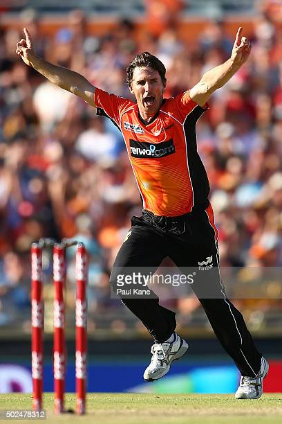 Brad Hogg of the Scorchers celebrates the wicket of Nathan Reardon of the Heat during the Big Bash League match between the Perth Scorchers and the...