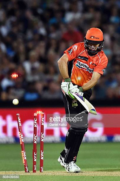 Brad Hogg of the Scorchers is bowled out by Kane Richardson of the Adelaide Strikers during the Big Bash League match between the Adelaide Strikers...