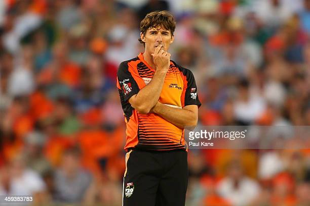 Brad Hogg of the Scorchers looks on during the Big Bash League match between the Perth Scorchers and the Melbourne Renegades at WACA on December 26...