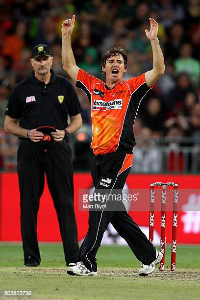 Brad Hogg of the Scorchers reacts during the Big Bash League match between the Sydney Thunder and the Perth Scorchers at Spotless Stadium on January...