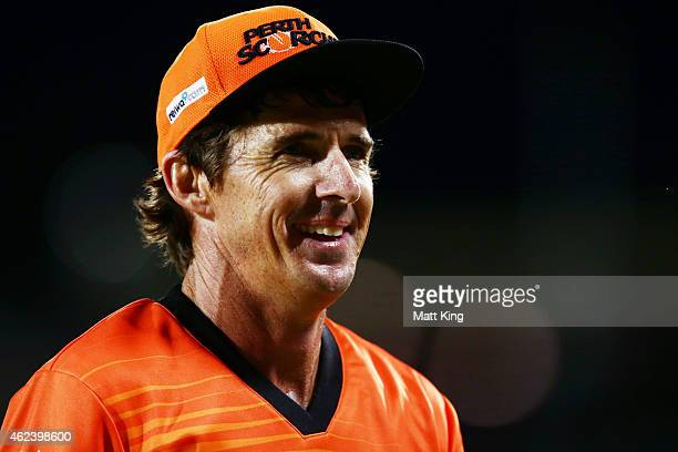 Brad Hogg of the Scorchers smiles towards the crowd during the Big Bash League final match between the Sydney Sixers and the Perth Scorchers at...
