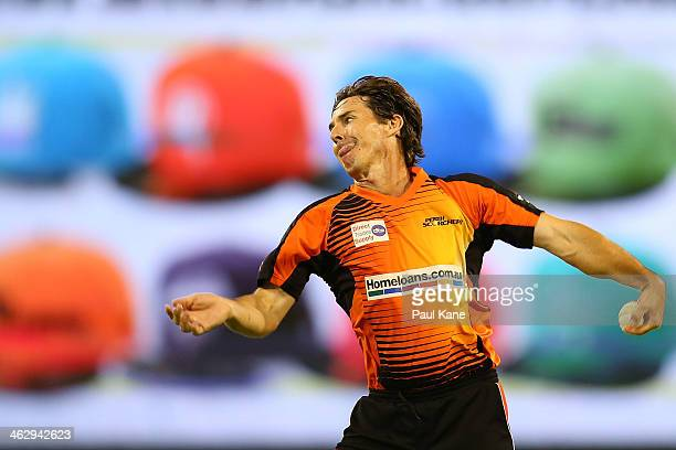 Brad Hogg of the Scorchers warms up to bowl during the Big Bash League match between the Perth Scorchers and the Adelaide Strikers at WACA on January...