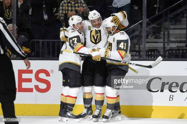 Brad Hunt William Carrier and PierreEdouard Bellemare of the Vegas Golden Knights celebrate after scoring a goal against the Colorado Avalanche...