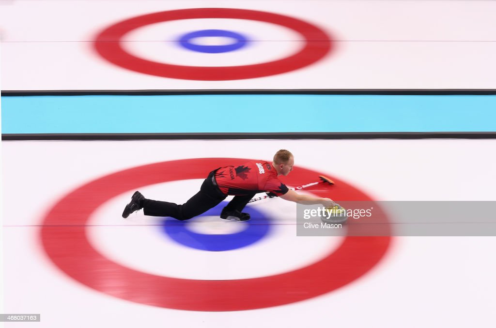 Brad Jacobs of Canada in action during curling training on day 2 of the Sochi 2014 Winter Olympics at the Ice Cube Curling Centre on February 9, 2014 in Sochi, Russia.