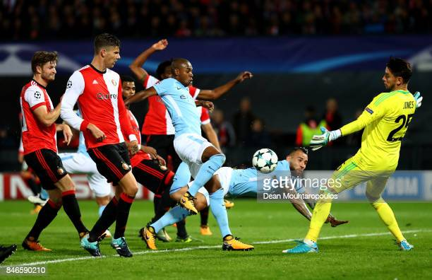 Brad Jones of Feyenoord makes a save during the UEFA Champions League group F match between Feyenoord and Manchester City at Feijenoord Stadion on...