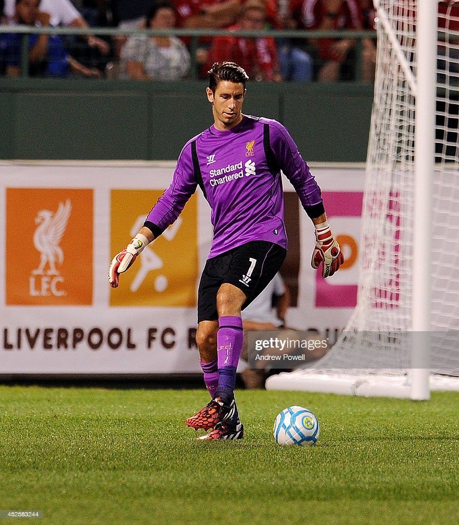 Brad Jones of Liverpool during the pre-season friendly match between Liverpool FC and AS Roma at Fenway Park on July 23, 2014 in Boston, Massachusetts.