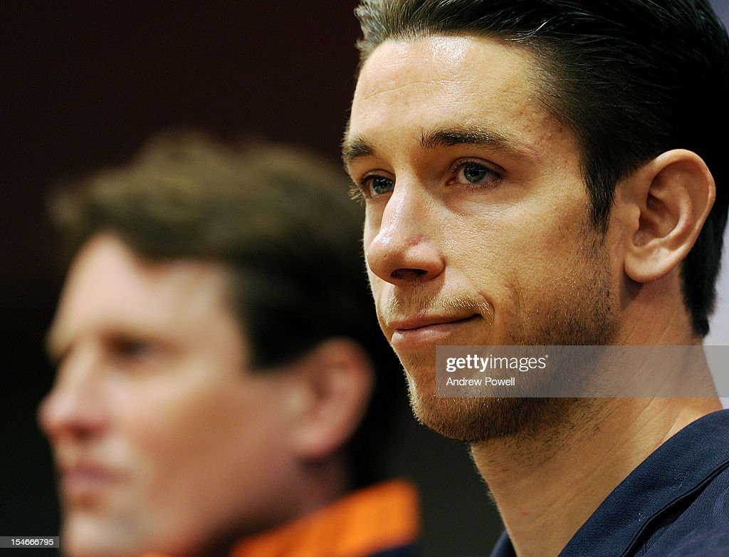 Brad Jones of Liverpool listens during a press conference at Anfield on October 24, 2012 in Liverpool, England.