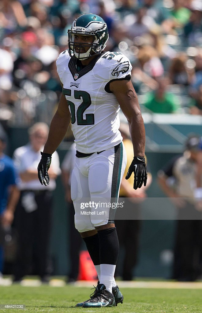 Brad Jones #52 of the Philadelphia Eagles plays in the game against the Indianapolis Colts on August 16, 2015 at Lincoln Financial Field in Philadelphia, Pennsylvania.
