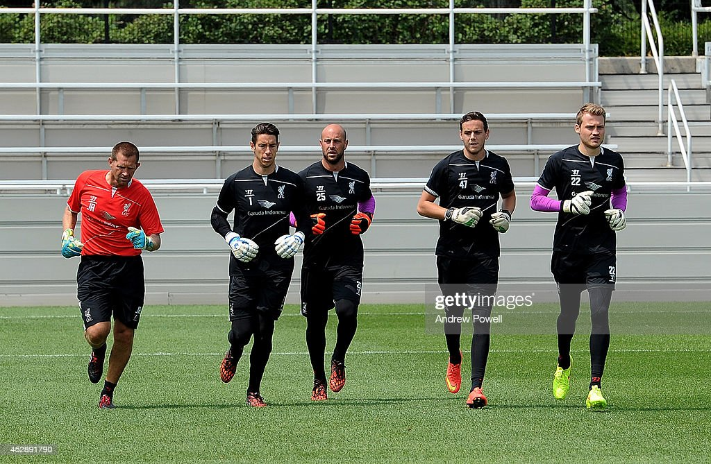 Brad Jones, Pepe Reina, Danny Ward and <a gi-track='captionPersonalityLinkClicked' href=/galleries/search?phrase=Simon+Mignolet&family=editorial&specificpeople=7124442 ng-click='$event.stopPropagation()'>Simon Mignolet</a> of Liverpool in action during a training session at Princeton University on July 29, 2014 in Princeton, New Jersey.